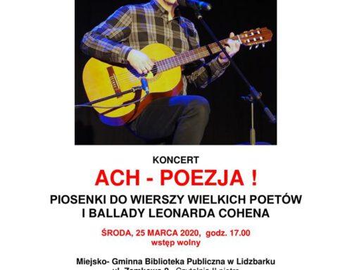 Ach – poezja ! koncert Kuby Michalskiego.