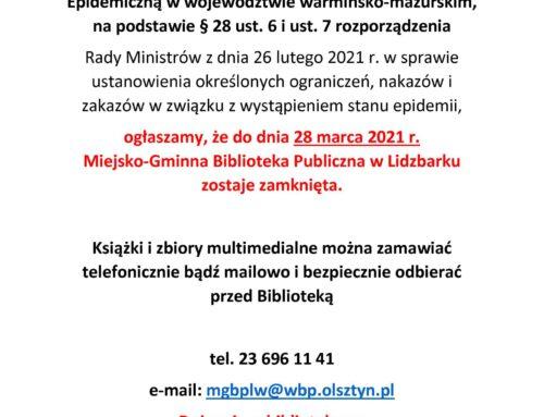 Biblioteka zamknięta do 28 marca 2021 r.